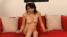 Pretty brunette teen Lexi Belle has two dirty old guys sharing her twat
