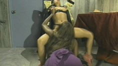 Wild Latina and a horny ebony lesbian in sexy pussy eating and posing