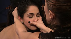 The boss makes her suck on the dildo and shoves it up her backside