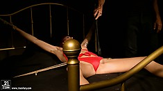 Sweet woman in red bikini sees the breast suction device on her nipples