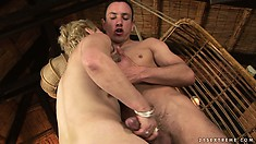 Blonde hoochie mama gets herself a piece of a young lad's dick