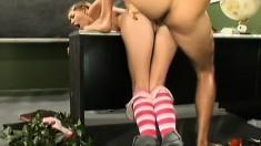 Petite schoolgirl has her teacher pounding her snatch in the classroom