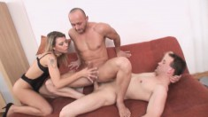 Horny bisexual dudes get their freak on with a fine as hell blonde