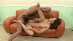 Horny guy pounds Kita Zen's lovely snatch and unloads on her feet