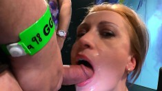 Nasty young babe lets these guys fill her mouth with their cum