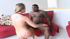 Striking blonde wife with a perfect body Aline fucks a hung black man