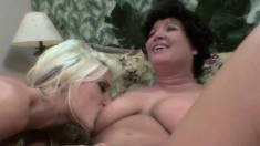 Blonde and brunette housewives please each other's cunts with sex toys