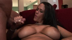 Curvaceous Carmella Bing exposes her snatch and strokes a long shaft