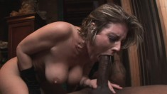 Busty milf Velicity Von has a black stallion roughly fucking her holes