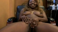 Curvaceous caramel hottie shows off her body and fucks a large prick