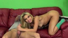 Blonde Latina chews on his rod, gets drilled and eats his jizz