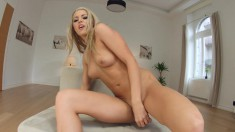 Dazzling blonde Christen Courtney makes herself cum hard with sex toys