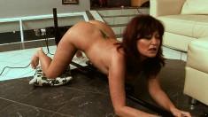 Charming redhead milf with a superb ass enjoys a hot lesbian threesome