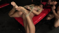 Saucy young broad Maya gets tied up and used by a pussy-hungry dude