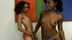 Horny starlets Mya and Vixen have some exciting lesbian action