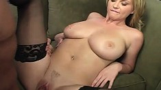 Big tit blonde babe is outside blowing and titty fucking, then goes in to fuck