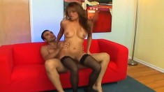 Seductive Asian beauty puts on her best lingerie and fucks a hung stud