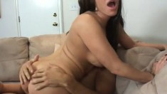 Hot milf with big tits gets her twat licked and fucked by her stepson