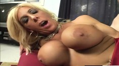 Stacked blonde cougar getting drilled deep by Nick East on the couch