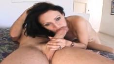 Slender brunette Victoria Sin spreads her hot legs for a throbbing rod