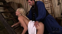 Attractive blonde with sexy tits and a divine ass fully enjoys the pussy pounding action