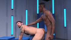 Horny white stud gets his ass totally ravaged by a hard black cock