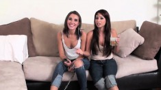 Two Gals Bring In Their Sex Slave To Lick Their Feet And Heels