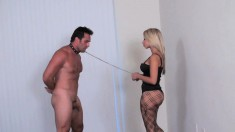 Kinky Guy On A Leash Submits To A Stunning Blonde Mistress In Lingerie