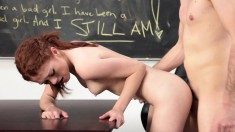 Pretty Redhead Teen Rides A Thick Pole With Passion In The Classroom