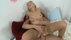 Slutty blonde in stockings has a hung guy deeply fucking all her holes
