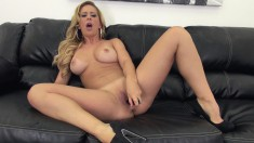 Lustful Blonde With Marvelous Tits And Ass Cherie Plays With Her Toys