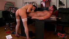 Naughty cougar with massive tits rides her lover like a pony