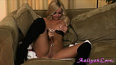 Finally Christmas comes and well-flavored babe cums hard as well