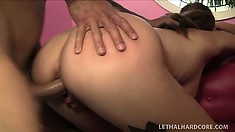 Her screams of pleasure echo around the room as he bangs her tight pussy from behind