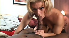 She rolls him over and sucks his cock, then lets him eat her