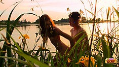 Lana gets cunnilingus from Rex and he drills her down by the river
