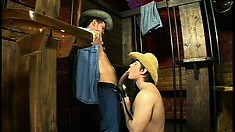 Bad behavior leads to an old west jail for some behavior modification with cock