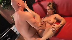 Nasty blonde milf with big tits Kelly Leigh has Rod Fontana filling her twat with cum