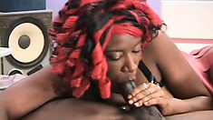 Freaky black broad in a bondage harness gets her cooch wrecked