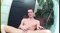 Wild cocksucker is eager to choke on this guy's monumental rod