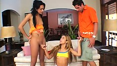 Petite tranny has a wild bareback threesome with a freaky couple