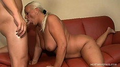 Stacked mature lady gives a nice blowjob and receives that hard cock deep in her holes