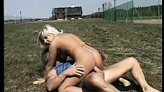 Stacked blonde with sexy long legs enjoys a deep fucking doggy style in the outdoors