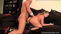 Curvaceous blonde cougar has a stud fucking her tight pussy all over the couch