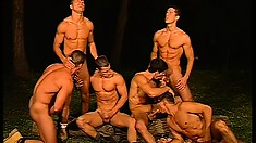 Handsome hunks have a bareback outdoors orgy in an open field