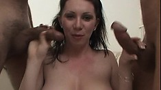 Three huge cocks for this brunette to master her oral skills on