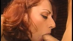 Busty redhead has two horny sailors fucking her holes at the same time
