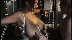 Chubby babe in lingerie gets her big tits tortured by her mistress