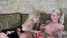 Blonde cuties Hilda and Paulina eat out each other's fiery cunts and share a big dildo