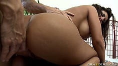 Screams of pleasure echo all over the room as he drills her anal hole from behind